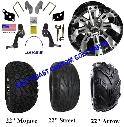 Jakes Club Car Ds Spindle Lift Kit Vegas Wheel Tire Combo 4